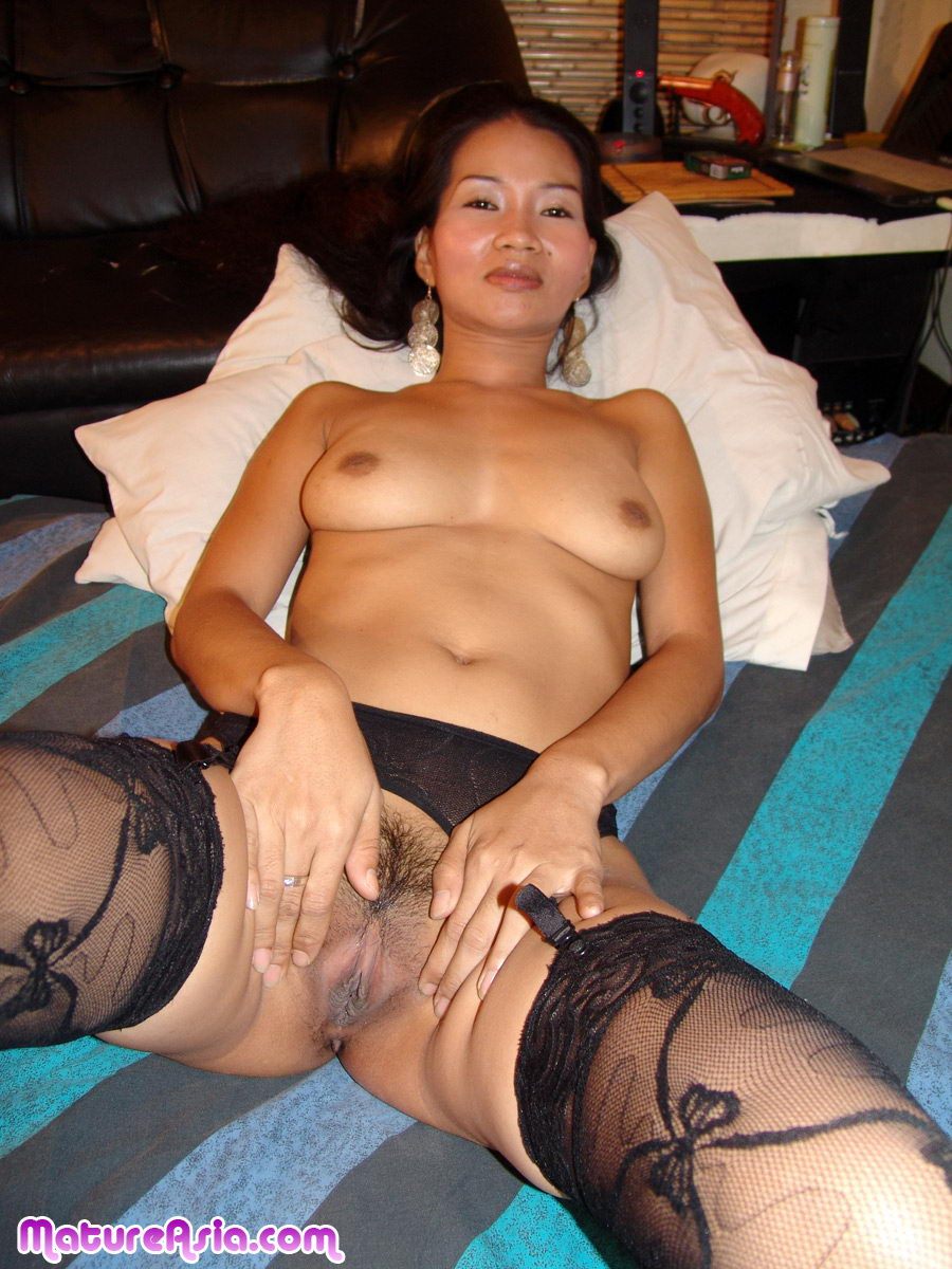 mayen hot sexy beautiful asian milf in her stockings getting a