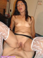 Older sexy Asian granny in stocking